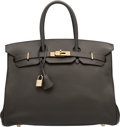 Luxury Accessories:Bags, Hermes 35cm Graphite Clemence Leather Birkin Bag with Gold Hardware. H Square, 2004. Good to Very Good Condition. ...