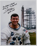Autographs:Celebrities, Fred Haise Signed White Spacesuit Apollo 13 Pre-Launch ColorPhoto....