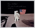 "Autographs:Celebrities, Edgar Mitchell Signed Apollo 14 Lunar Surface ""Flag"" ColorPhoto...."