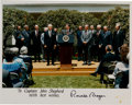 Explorers:Space Exploration, Ronald Reagan Autopen-Signed Color Photo with the RogersCommission. ...