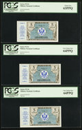 Military Payment Certificates:Series 472, Series 472 5¢ First Printing Five Consecutive Examples PCGS Very Choice New 64PPQ (4) and Choice New 63PPQ.. ... (Total: 5 notes)