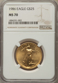 1986 $25 Half-Ounce Gold Eagle MS70 NGC....(PCGS# 9805)