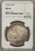 Peace Dollars: , 1925-S $1 MS64 NGC. NGC Census: (1602/67). PCGS Population:(2013/41). CDN: $575 Whsle. Bid for problem-free NGC/PCGS MS64....