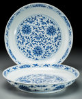 Paintings, A Pair of Chinese Blue and White Porcelain Lotus Dishes, Qing Dynasty, Daoguang Period, circa 1821-1850. Marks: ... (Total: 2 Items)
