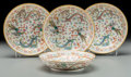 Asian:Chinese, Four Chinese Famille Rose Enameled Porcelain Dragon and Phoenix Saucer Dishes, Republic Period, circ... (Total: 4 Items)
