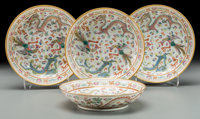 Four Chinese Famille Rose Enameled Porcelain Dragon and Phoenix