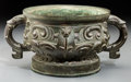 Asian:Chinese, A Large Chinese Archaistic Bronze Twin-Handled censer, QingDynasty, 18th century. 5-1/4 inches high x 10-1/2 inches wide (1...