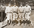 Baseball Collectibles:Photos, 1931 Babe Ruth, Lou Gehrig, Earle Combs & Tony Lazzeri OriginalNews Photograph, PSA/DNA Type 1....