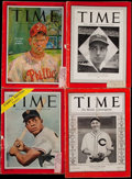 Baseball Collectibles:Publications, 1937-56 Time Magazine Lot of 4 With Feller, DiMaggio, Mays &Roberts....