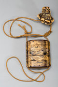 Asian:Japanese, A Japanese Lacquered Four-Case Inro with Netsuke, late Edo Period.2-3/8 inches high (6.0 cm) (inro). ...
