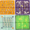 """Luxury Accessories:Accessories, Hermes Set of Four; 40cm Green, Purple & Brown Silk PochetteScarves. Pristine Condition. 16"""" Width x 16"""" Length.... (Total: 4 Items)"""