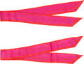"Luxury Accessories:Accessories, Hermes Set of Two; Pink & Red Silk Twilly Scarves. PristineCondition. 2"" Width x 34"" Length. ... (Total: 2 )"