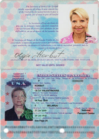 2000 Olga Korbut Signed Passport from The Olga Korbut Collection - Her First!