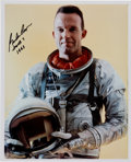 Autographs:Celebrities, Gordon Cooper Signed Waist-Up Pose Silver Spacesuit Color Photo....