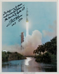 Autographs:Celebrities, Fred Haise Signed Apollo 13 Launch Color Photo....
