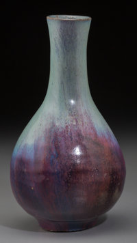 A Chinese Jun-Type Glazed Earthenware Bottle Vase, Yuan-Ming Dynasty 7-7/8 inches high (20.0 cm)