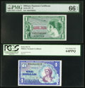 Military Payment Certificates:Series 651, Series 651 $1 PMG Gem Uncirculated EPQ;. Series 661 $1 PCGS VeryChoice New 64PPQ.. ... (Total: 2 notes)