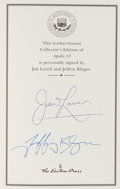 Autographs:Celebrities, James Lovell and Jeffrey Kluger Signed Leather-Bound Collector'sEdition Book: Apollo 13....
