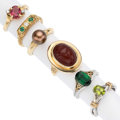 Estate Jewelry:Rings, Diamond, Multi-Stone, Dyed Cultured Pearl, Gold Rings. . ...(Total: 6 Items)