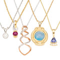 Estate Jewelry:Necklaces, Diamond, Multi-Stone, Gold Pendant-Necklaces. . ... (Total: 5Items)