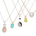 Estate Jewelry:Necklaces, Diamond, Multi-Stone, Cultured Pearl, Gold Pendant-Necklaces. . ... (Total: 5 Items)