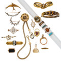 Estate Jewelry:Lots, Victorian Diamond, Multi-Stone, Freshwater Pearl, Seed Pearl, Enamel, Glass, Platinum-Topped Gold, Gold, Gold-Filled Jewelry. ... (Total: 20 Items)