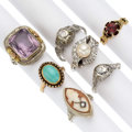 Estate Jewelry:Rings, Diamond, Shell Cameo, Multi-Stone, Cultured Pearl, Gold Rings. .... (Total: 7 Items)