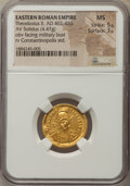 Ancients:Roman Imperial, Ancients: Theodosius II (AD 402-450). AV solidus (4.47 gm). NGC MS5/5 - 3/5.  ...