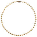 Estate Jewelry:Necklaces, Cultured Pearl, Gold Necklace. . ...
