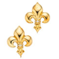 Estate Jewelry:Earrings, Diamond, Gold Fleur de Lis Earrings. . ... (Total: 2 Items)