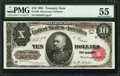 Large Size:Treasury Notes, Fr. 369 $10 1891 Treasury Note PMG About Uncirculated 55.. ...