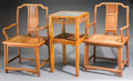 Asian:Chinese, A Pair of Chinese Huanghuali and Inset Burlwood Armchairs withAssociated Huanghuali Side Table with Inset Marble Top, Qing ...(Total: 3 Items)