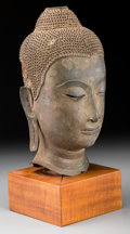 Asian:Chinese, An Exceptional Thai Bronze Head of Buddha Shakyamuni, AyatthuyaPeriod, 17th Century. 12-1/2 inches high (31.8 cm). ... (Total: 2Items)