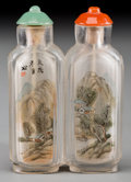Asian:Chinese, A Chinese Inside-Painted Double Snuff Bottle with LandscapeScenery. 2-3/8 inches high x 1-1/2 inches wide (6.0 x 3.8 cm). ...