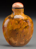 Asian:Chinese, A Chinese Polished Realgar Glass Snuff Bottle, Qing Dynasty.2-1/4 inches high (5.7 cm). ...