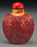 Asian:Chinese, A Chinese Realgar Glass Basketweave Snuff Bottle, Qing Dynasty. 2-5/8 inches high (6.7 cm). ...