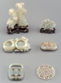 Asian:Chinese, Six Chinese Carved Jade Figures. 4 inches high (10.2 cm) (tallest,without stand). ... (Total: 6 Items)