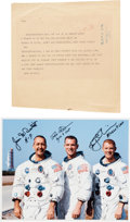 Explorers:Space Exploration, Apollo 9 Crew-Signed White Spacesuit Color Photo and Jack BennyCongratulatory Telegram Originally from the Personal Collectio...(Total: 2 Items)