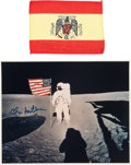 Explorers:Space Exploration, Apollo 14 Flown Spanish Flag Originally from the PersonalCollection of Mission Lunar Module Pilot Edgar Mitchell, Signed and... (Total: 2 Items)