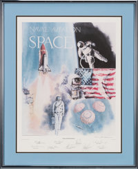 """Robert Rasmussen Signed Limited Edition """"Naval Aviation in Space"""" Print, #400/1000, Signed by Nine Astronauts..."""