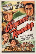 "Movie Posters:Western, Cheyenne Roundup & Others Lot (Universal, 1943). One Sheet (27"" X 41""), Trimmed Title Lobby Card (10.75"" X 13.5""), & Lobby C... (Total: 3 Items)"