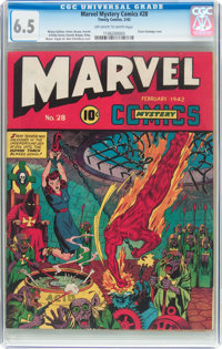 Marvel Mystery Comics #28 (Timely, 1942) CGC FN+ 6.5 Off-white to white pages