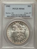 Morgan Dollars: , 1903 $1 MS66 PCGS. PCGS Population: (1035/102). NGC Census: (489/105). CDN: $525 Whsle. Bid for problem-free NGC/PCGS MS66....