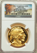 Modern Bullion Coins, 2013-W $50 One-Ounce Gold Buffalo, First Strike PR70 Ultra Cameo NGC. NGC Census: (1490). PCGS Population: (1145). ...