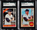 Baseball Cards:Lots, 1966 & 1968 Topps Mickey Mantle SGC Graded Pair (2)....