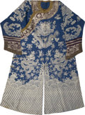 Asian:Chinese, A Chinese Embroidered Silk Dragon Robe. Late Qing Dynasty.54-1/2 inches high (flat, neck to hem) (138.4 cm) . 3...