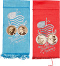 Political:Ribbons & Badges, Harrison & Morton and Cleveland & Thurman: Choice Jugate Ribbons.... (Total: 2 Items)