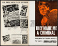 """Movie Posters:Crime, They Made Me a Criminal (Warner Brothers, 1939). Pressbook(Multiple Pages, 11"""" X 17.25""""). Crime.. ..."""