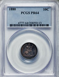 Proof Seated Dimes, 1880 10C PR64 PCGS. NGC Census: (69/99). PCGS Population: (87/94). CDN: $600 Whsle. Bid for problem-free NGC/PCGS PR64. Min...