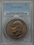 Eisenhower Dollars, 1972-D $1 MS66+ PCGS. PCGS Population: (508/18 and 36/0+). NGC Census: (330/4 and 2/0+). Mintage 92,548,512. ...